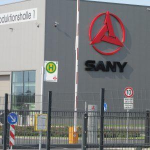 Bushaltestelle am Standort Sany im Gewerbegebiet Mühlenerft in Bedburg