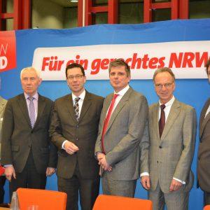 (v.l.n.r.: Karl-Heinz Emrich, Hans Krings, Dierk Timm, Achim Leirich, Jürgen Becher, Guido van den Berg MdL)
