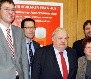 Florian Herpel, Dierk Timm, Guntram Schneider MdL, Marlies Stroschein, Guido van den Berg MdL.