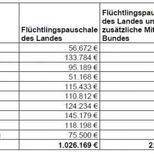 Tabelle Flüchtlingshilfen für Kommunen im Rhein-Erft-Kreis - Dezember 2014