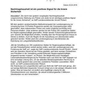 GdP Pressemitteilung zum Nachtragshaushalt