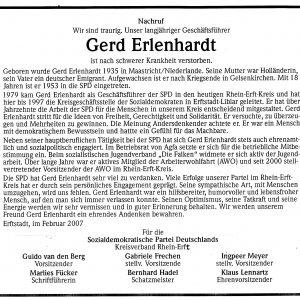 Die SPD trauert um Gerd Erlenhardt