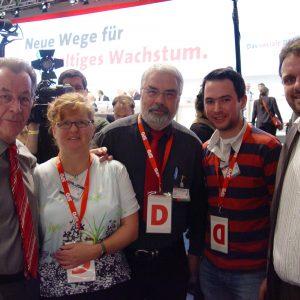 Franz Müntefering, Ute Meiers, Helmut Latak, Stefan Renner und Guido van den Berg