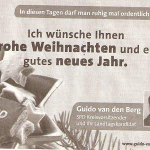 Anzeige in der Werbepost am 23.12.2009