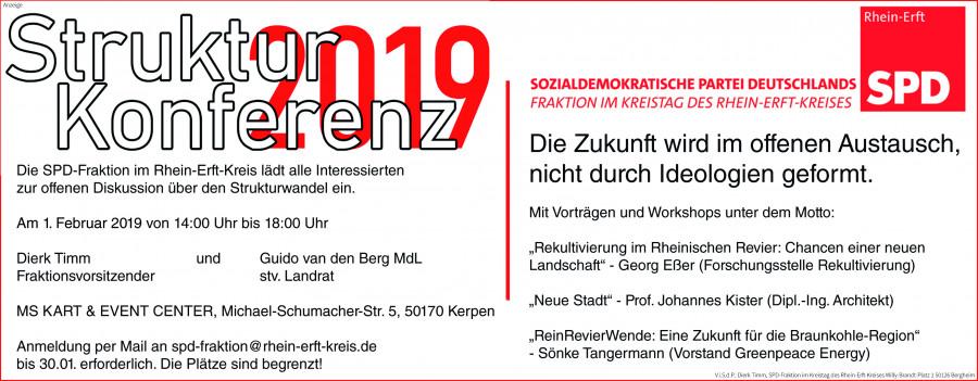 Einladungsanzeige zur 1. Strukturkonferenz am 1. Februar 2019