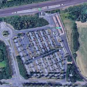 Luftbild Haltepunkt Weiden-West mit Parkplätzen