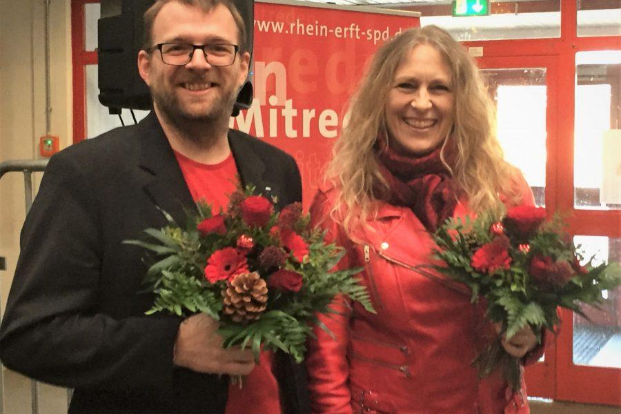 Die neuen Kreisvorsitzenden der Rhein-Erft SPD, Daniel Dobbelstein und Dagmar Andres