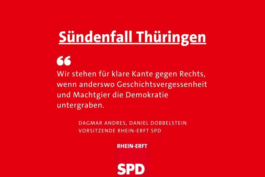 Textbild: Klare Kante gegen Rechts, dafür steht die SPD, sagen Dagmar Andres und Daniel Dobbelstein.