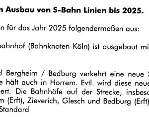 Ausschnitt S-Bahn Konzept zur Erft S-Bahn