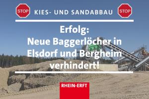 Sharepic Kiesgrube, Text: Erfolg, neue Baggerlöcher in Elsdorf und Bergheim verhindert