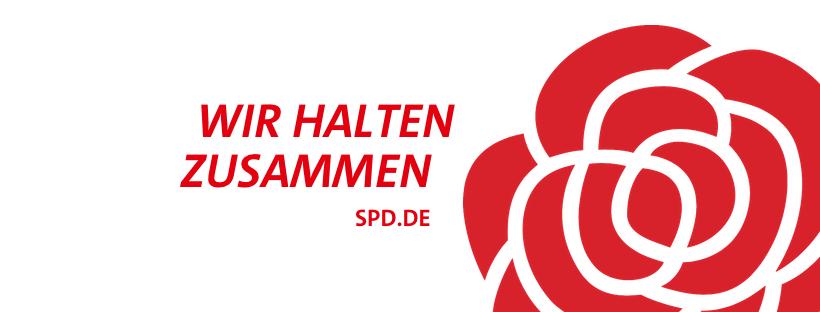 SPD Rose mit Text Wir halten zusammen. spd.de