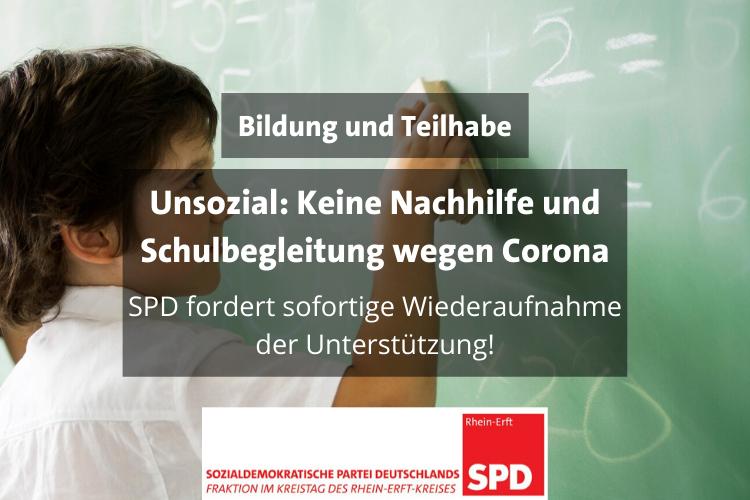 Schüler an Tafel. Text: Bildung und Teilhabe. Unsozial: Keine Nachhilfe und Schulbegleitung wegen Corona